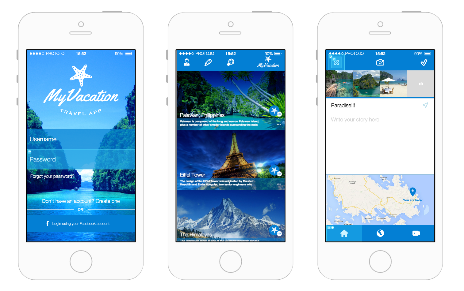 my vacation app prototyping